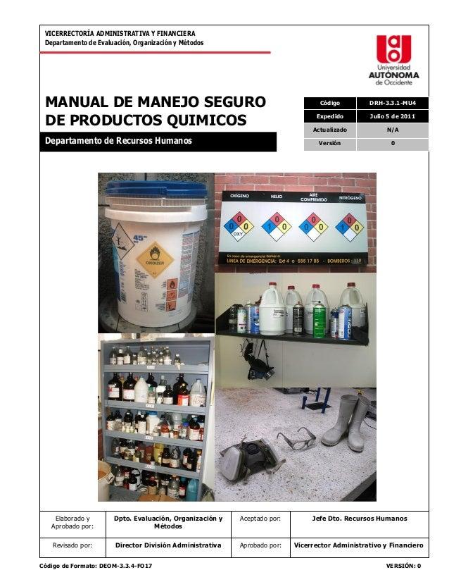 VICERRECTORÍA ADMINISTRATIVA Y FINANCIERA Departamento de Evaluación, Organización y Métodos  MANUAL DE MANEJO SEGURO DE P...