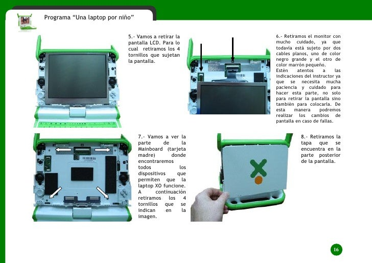 """Programa """"Una laptop por niño""""                                    5.- Vamos a retirar la        6.- Retiramos el monitor c..."""