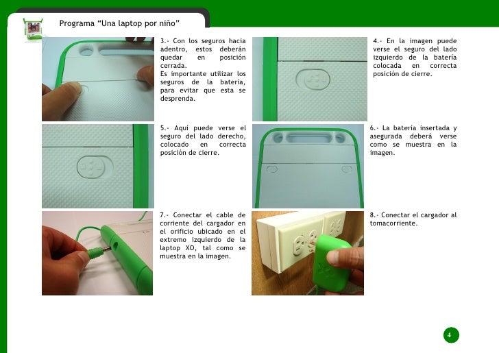 """Programa """"Una laptop por niño""""                               3.- Con los seguros hacia       4.- En la imagen puede       ..."""