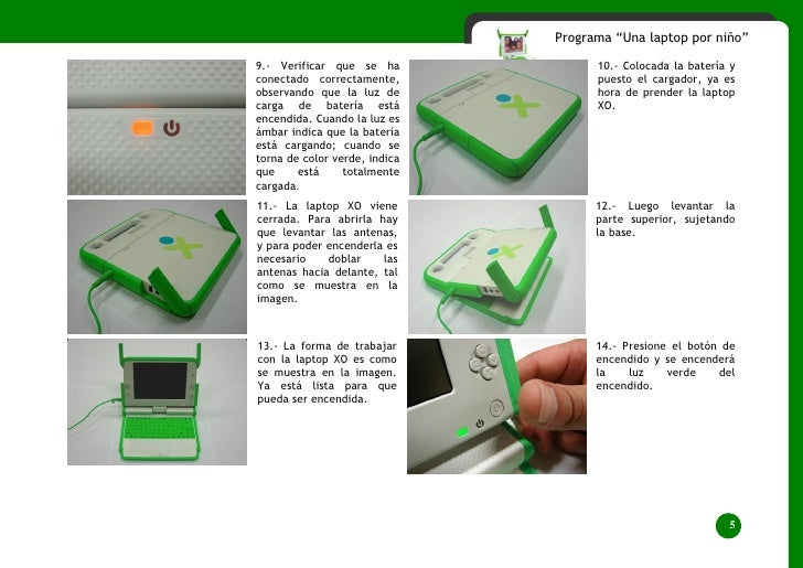 """Programa """"Una laptop por niño""""  9.- Verificar que se ha              10.- Colocada la batería y conectado correctamente,  ..."""