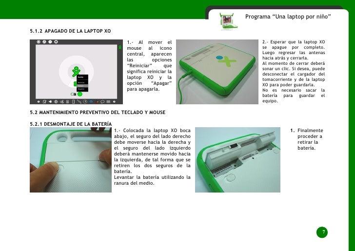 """Programa """"Una laptop por niño""""  5.1.2 APAGADO DE LA LAPTOP XO                                        1.- Al mover el      ..."""