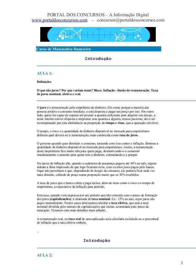 PORTAL DOS CONCURSOS – A Informação Digital www.portaldosconcursos.com - concursos@portaldosconcursos.com Curso de Matemát...