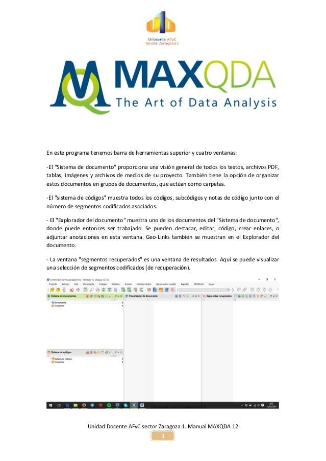 Unidad Docente AFyC sector Zaragoza 1. Manual MAXQDA 12 1 En este programa tenemos barra de herramientas superior y cuatro...