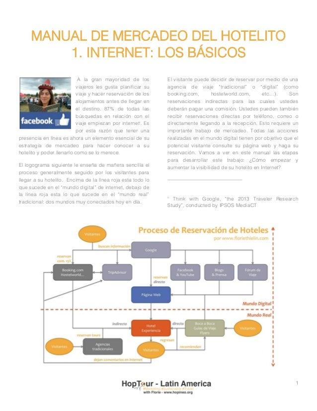 1 MANUAL DE MERCADEO DEL HOTELITO 1. INTERNET: LOS BÁSICOS A la gran mayoridad de los viajeros les gusta planificar su via...