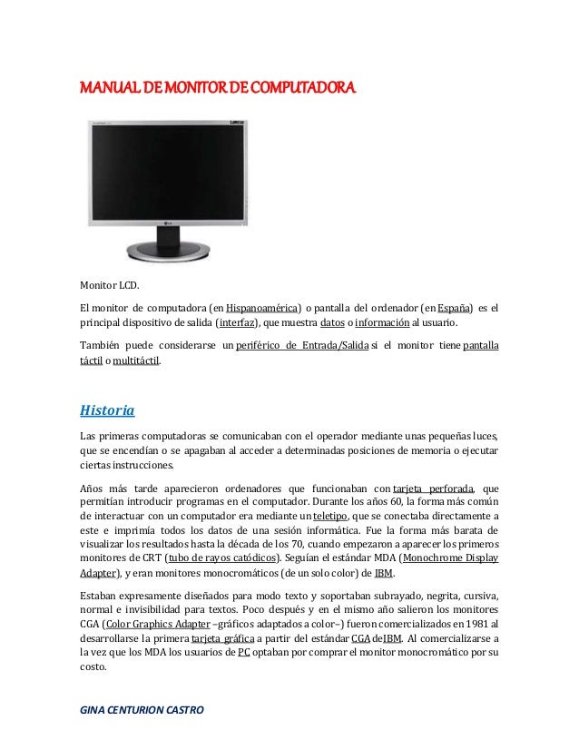 Manual de monitor de computadora