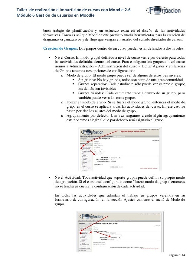 Taller de realización e impartición de cursos con Moodle 2.6 Módulo 6 Gestión de usuarios en Moodle. buen trabajo de plani...