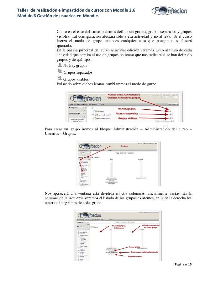 Taller de realización e impartición de cursos con Moodle 2.6 Módulo 6 Gestión de usuarios en Moodle. Como en el caso del c...