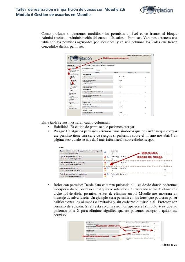 Taller de realización e impartición de cursos con Moodle 2.6 Módulo 6 Gestión de usuarios en Moodle. Como profesor si quer...