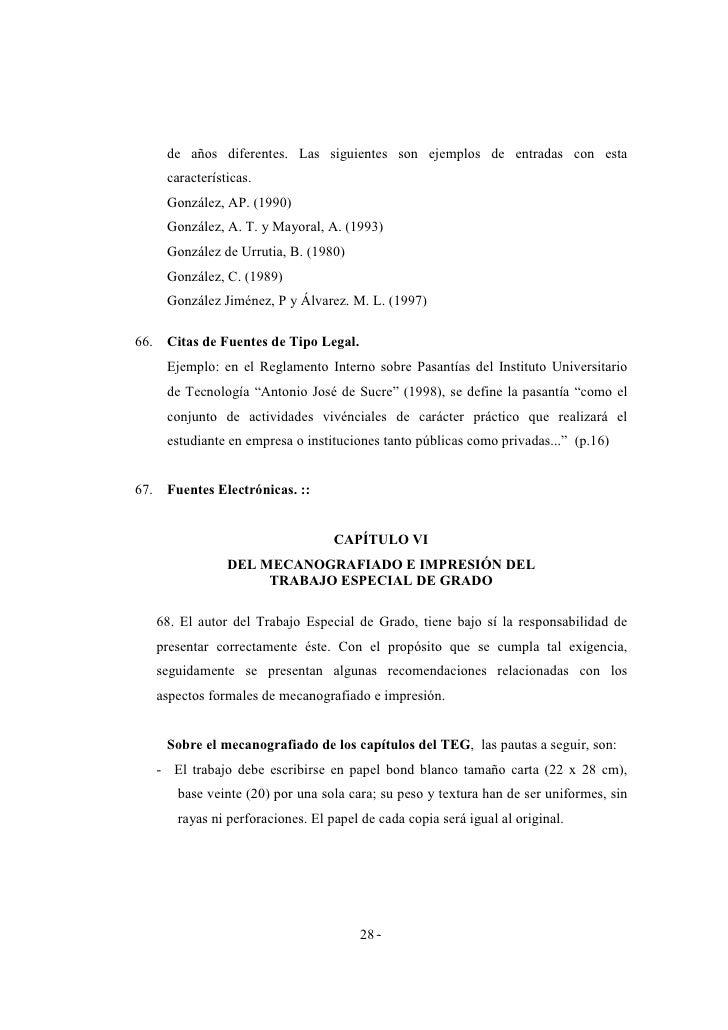 Manual de normas para la presentación del trabajo especial de grado