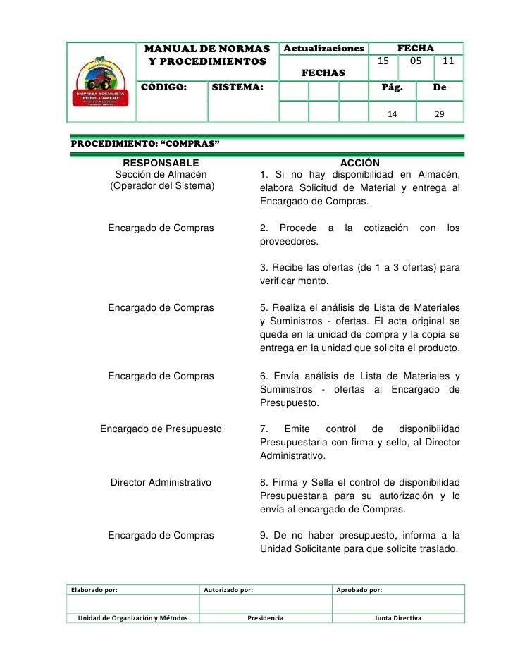 Manual de normas y procedimientos de compras.