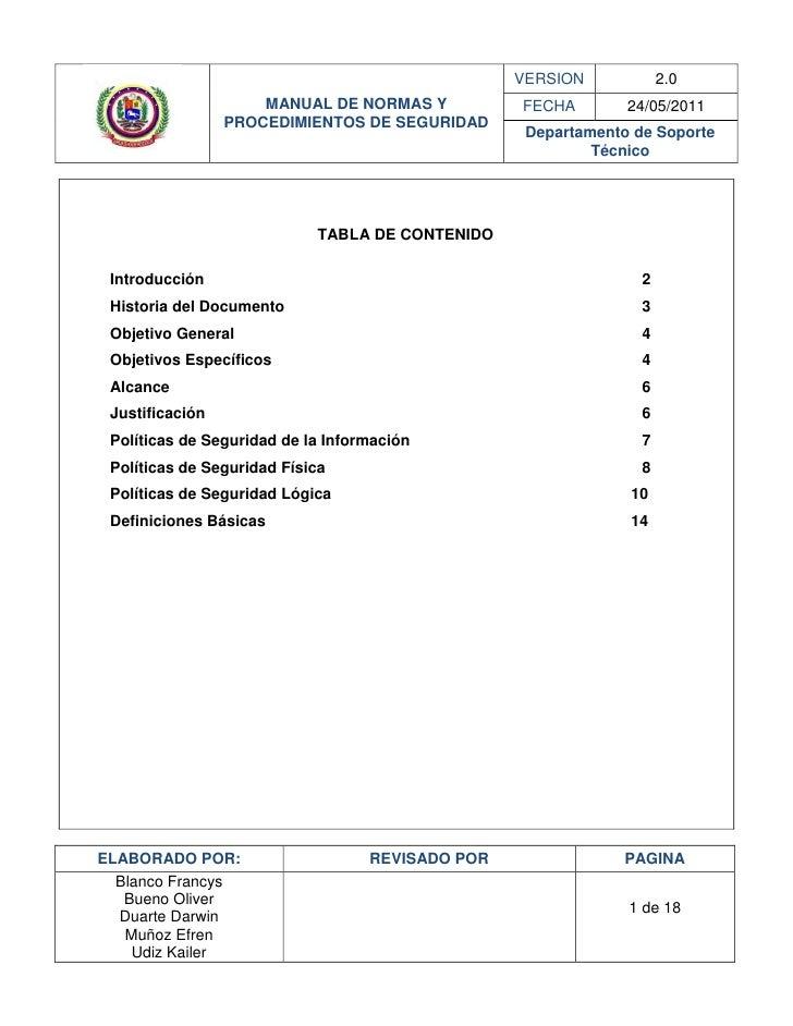 VERSION            2.0                     MANUAL DE NORMAS Y           FECHA        24/05/2011                 PROCEDIMIE...