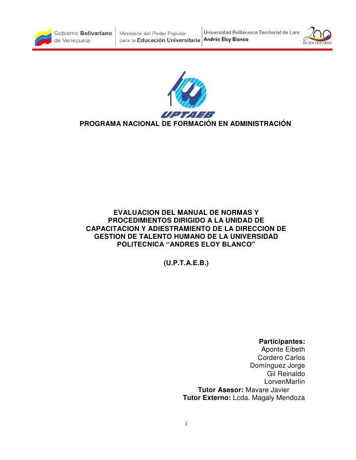 PROGRAMA NACIONAL DE FORMACIÓN EN ADMINISTRACIÓN       EVALUACION DEL MANUAL DE NORMAS Y      PROCEDIMIENTOS DIRIGIDO A LA...