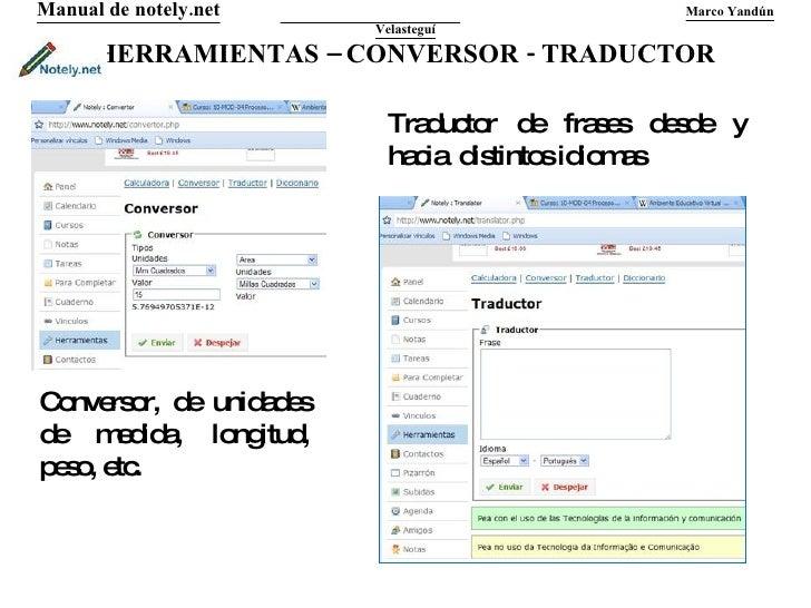 HERRAMIENTAS – CONVERSOR - TRADUCTOR Manual de notely.net   Marco Yandún Velasteguí Conversor, de unidades de medida, long...