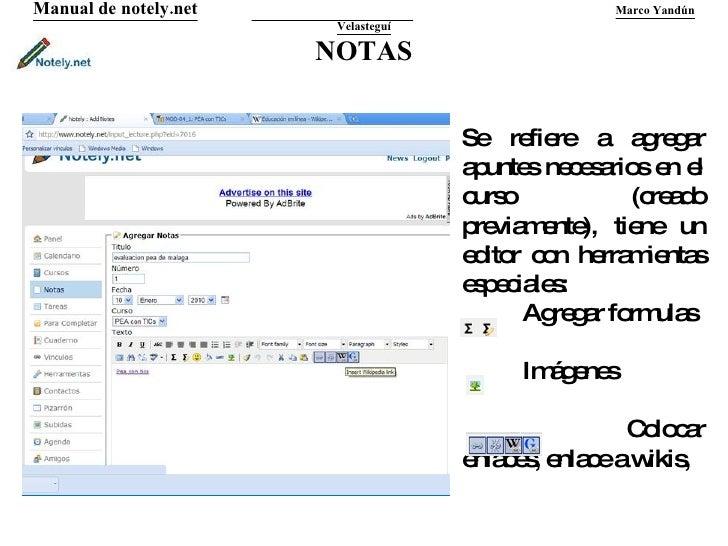NOTAS Manual de notely.net   Marco Yandún Velasteguí Se refiere a agregar apuntes necesarios en el curso (creado previamen...