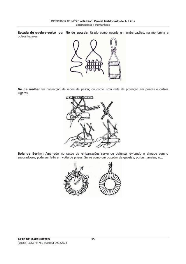 INSTRUTOR DE NÓS E AMARRAS: Daniel Maldonado de A. Lima Excursionista / Montanhista ARTE DE MARINHEIRO (0xx85) 3265-4478 /...
