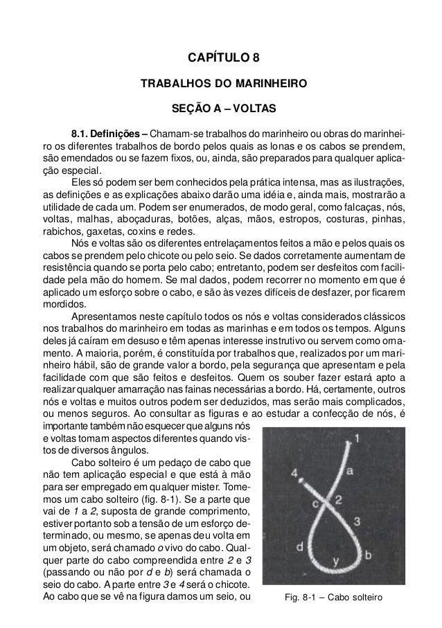CAPÍTULO 8 TRABALHOS DO MARINHEIRO SEÇÃO A – VOLTAS 8.1. Definições – Chamam-se trabalhos do marinheiro ou obras do marinh...