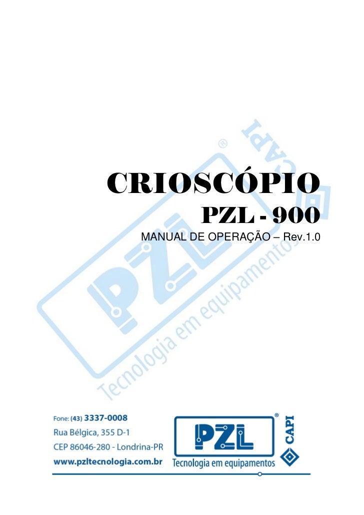 CRIOSCÓPIO          PZL - 900 MANUAL DE OPERAÇÃO – Rev.1.0