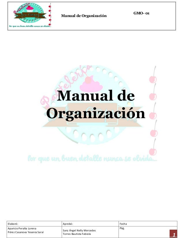 Manual de organizaci n para el dise o de una pasteler a for Manual de compras de un restaurante pdf