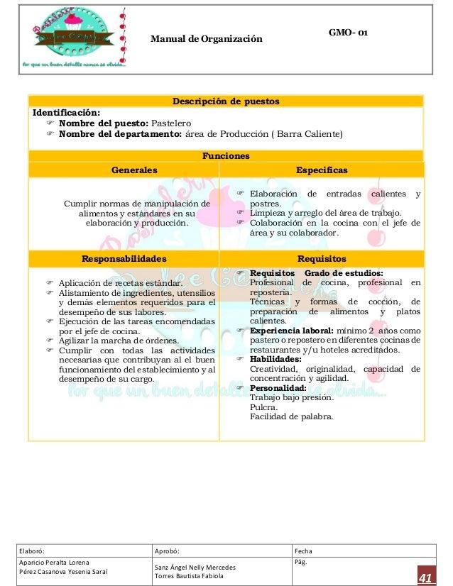 Manual de organizaci n para el dise o de una pasteler a for Trabajo jefe de cocina