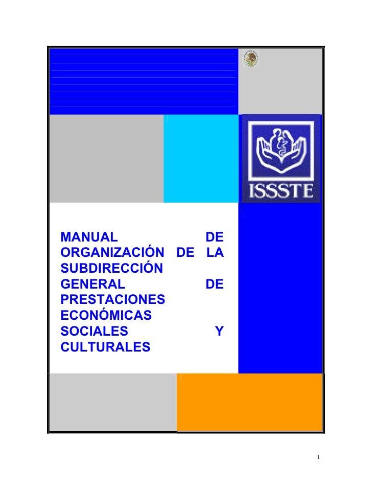 Manual de organización de la subdirección general de prestaciones económicas, sociales y culturales