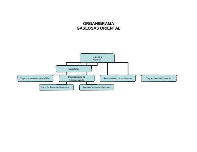 ORGANIGRAMA GASEOSAS ORIENTAL Gerencia General Departamento de contabilidad Departamento de Administración Departamento de...