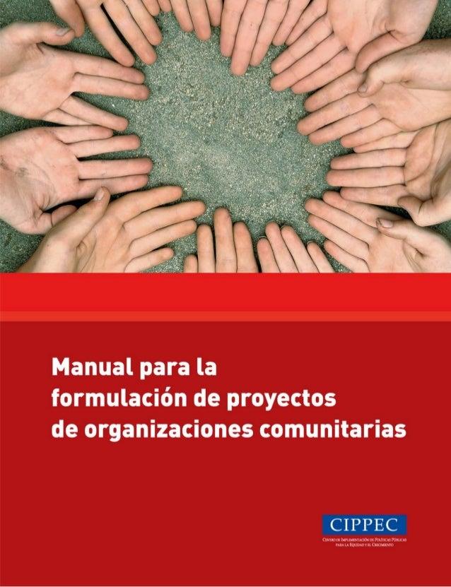 Manual para la formulación de proyectos de organizaciones comunitarias