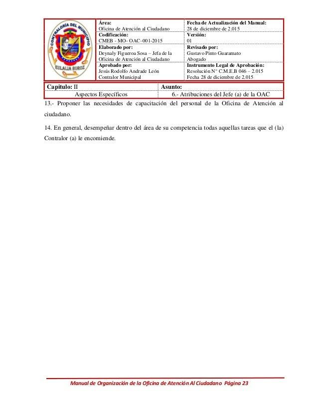 Manual de organizacion de la oficina de atenci n al ciudadano for Oficina del ciudadano