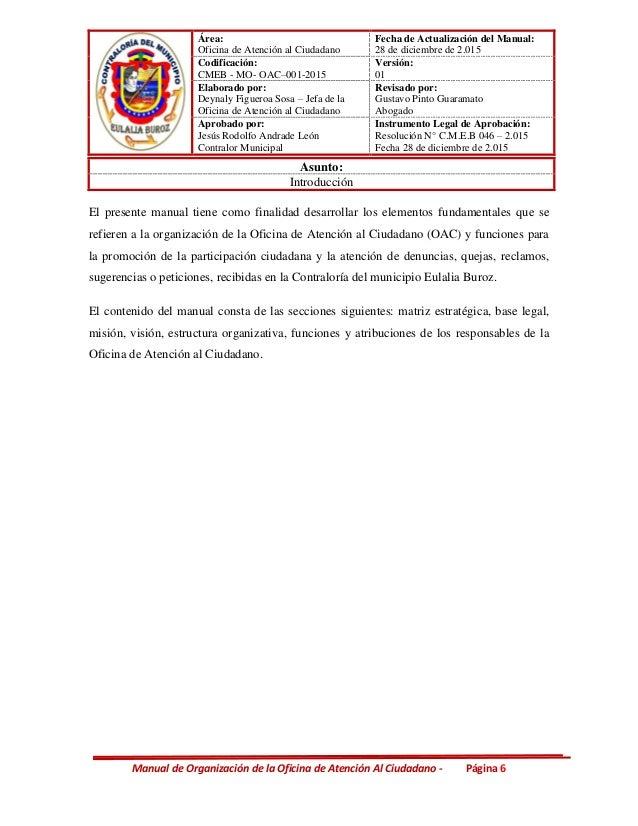 Manual de organizacion de la oficina de atenci n al ciudadano for Oficina de atencion al ciudadano
