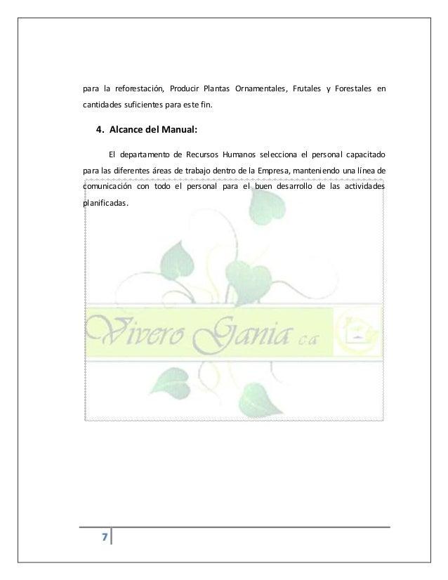 Manual de politicas empresa vivero gania c a for Actividades de un vivero