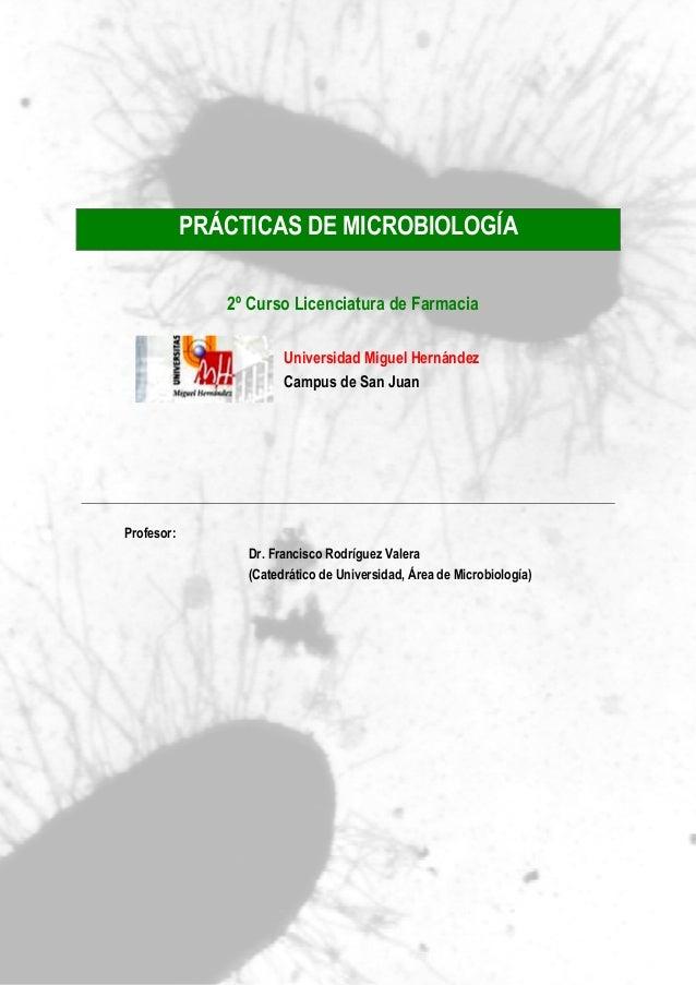 PRÁCTICAS DE MICROBIOLOGÍA 2º Curso Licenciatura de Farmacia Universidad Miguel Hernández Campus de San Juan Profesor: Dr....