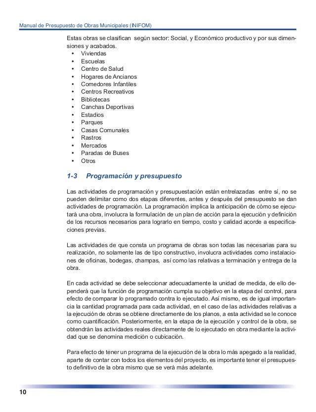Manual de presupuesto obras municipales