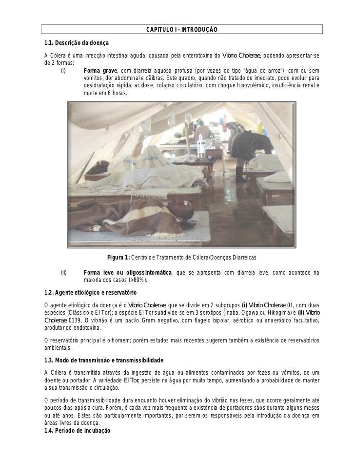 CAPITULO I - INTRODUÇÃO1.1. Descrição da doençaA Cólera é uma infecção intestinal aguda, causada pela enterotoxina do Vibr...