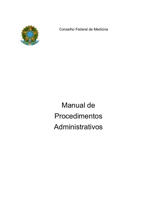 Manual deProcedimentosAdministrativosConselho Federal de Medicina