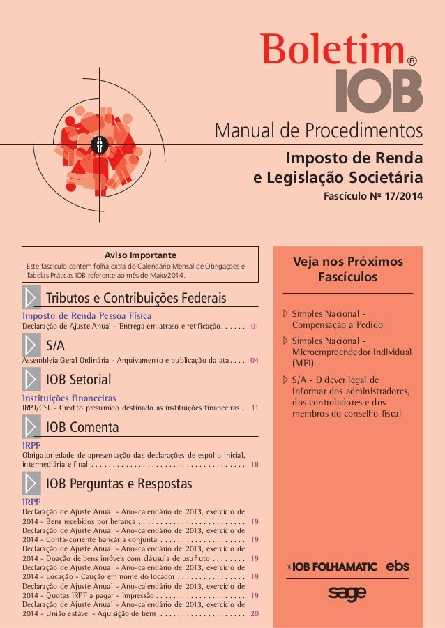 Boletimj Manual de Procedimentos Imposto de Renda e Legislação Societária Fascículo No 17/2014 Veja nos Próximos Fascículo...