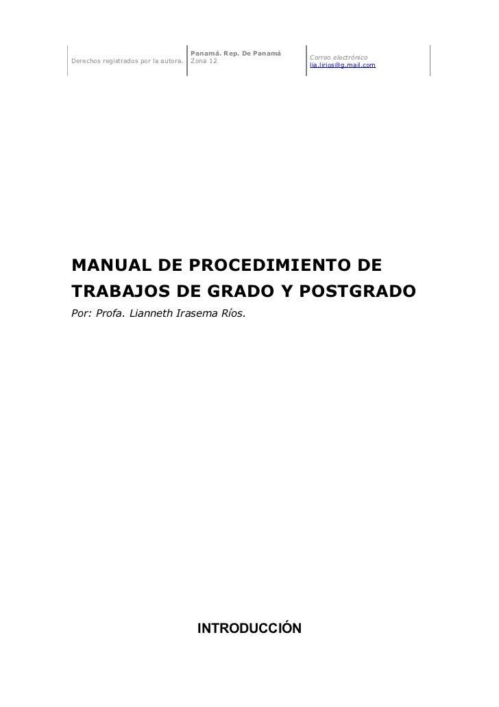 Manual de procedimiento de trabajos de grado y postgrado