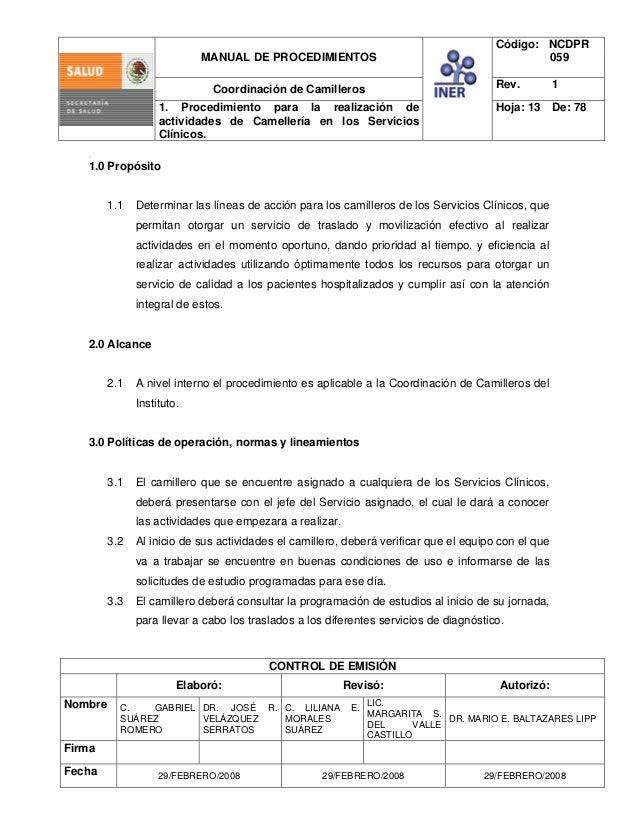 Manual de procedimiento camillero sector salud mexico - Los baltazares ...