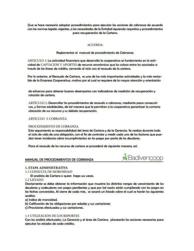 Manual de procedimiento de cobranza Slide 3