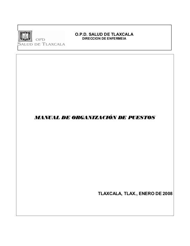 O.P.D. SALUD DE TLAXCALA             DIRECCION DE ENFERMEIAMANUAL DE ORGANIZACIÓN DE PUESTOS                    TLAXCALA, ...