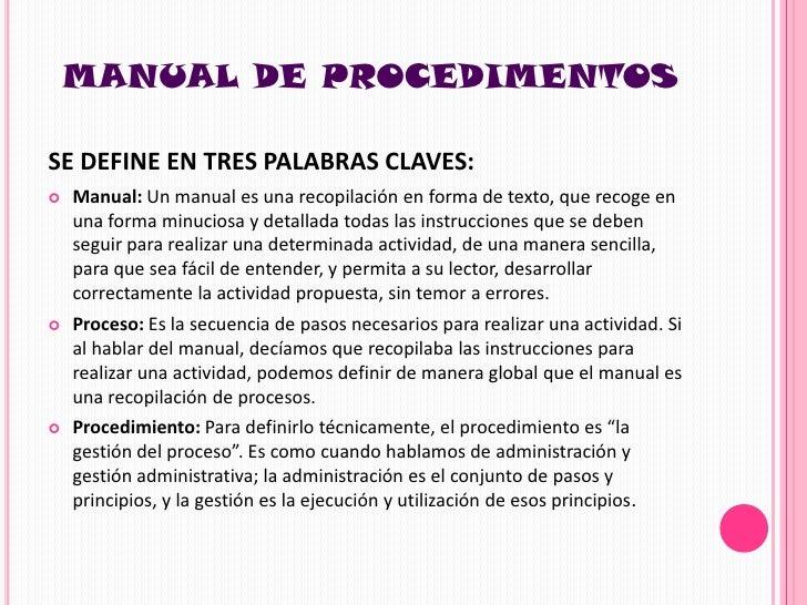 Manual de procedimientos Manual de procesos y procedimientos de una empresa de alimentos