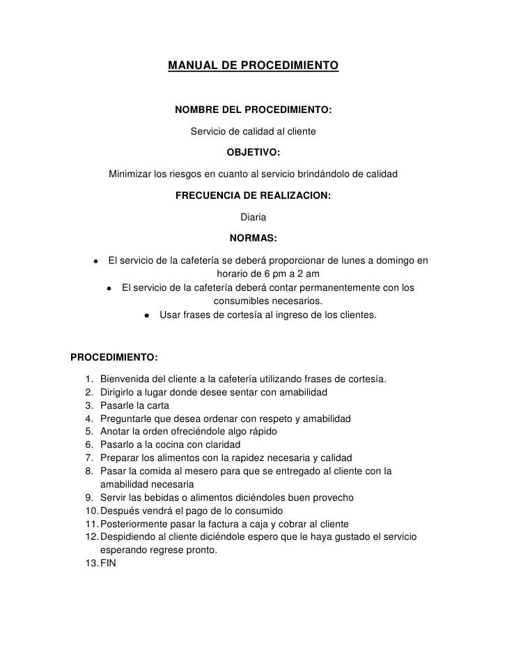 Manual de procedimientos for Manual de procedimientos de un restaurante
