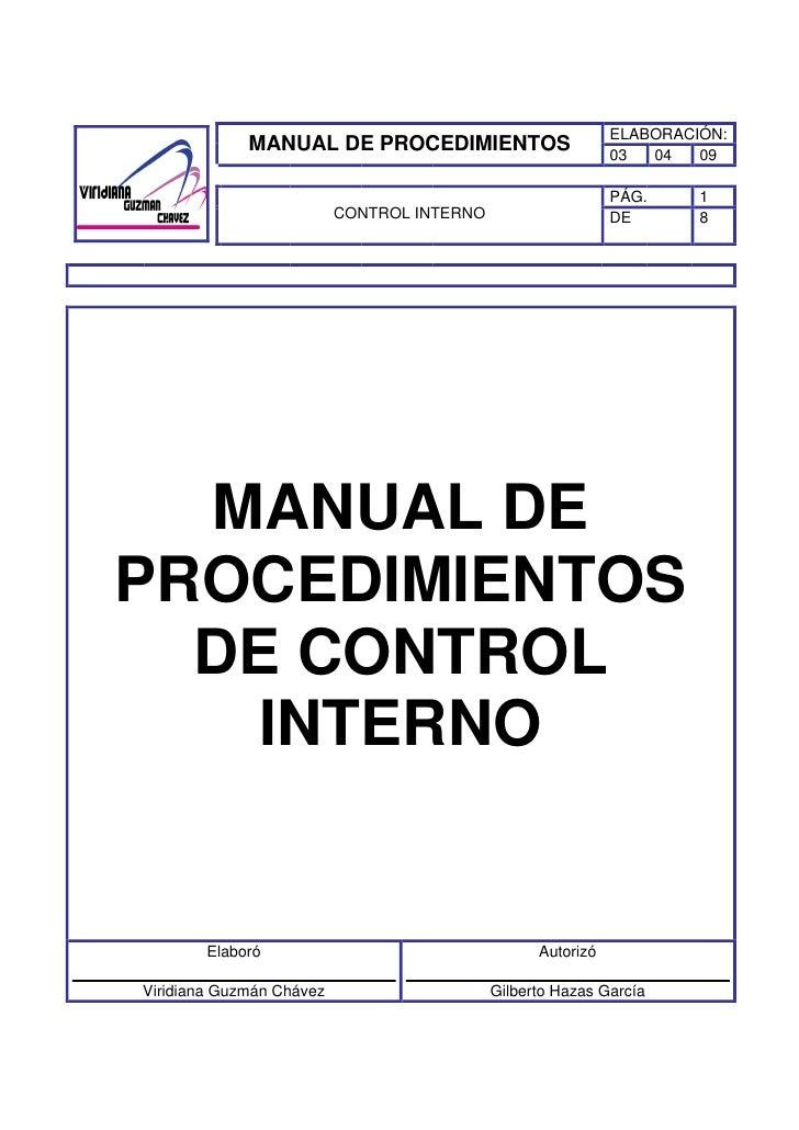 Manual de procedimientos de control interno viridiana for Manual de funciones y procedimientos de un restaurante