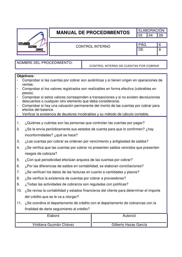 Manual de procedimientos de control interno viridiana for Manual de procedimientos de una empresa de alimentos