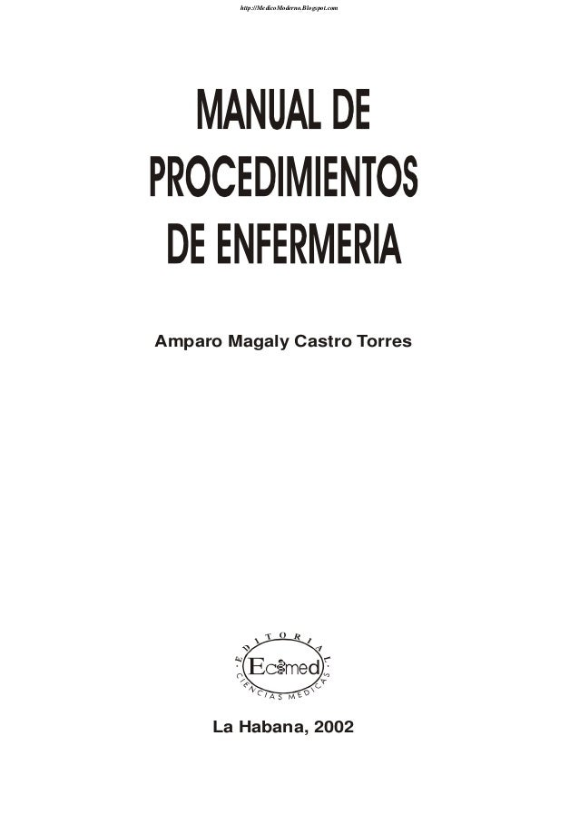 Manual de procedimientos de enfermer a for Manual de acuicultura pdf