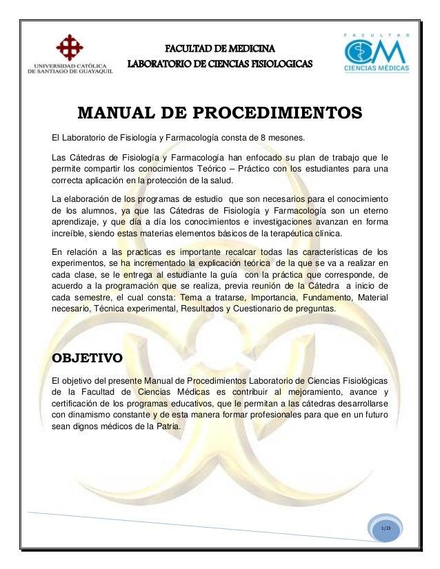 Manual de procedimientos fisiologia y farmacologia