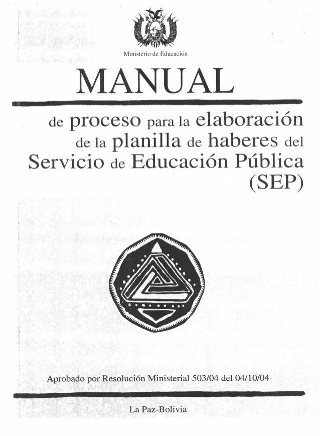 Manual de proceso para la elaboración de la planilla de