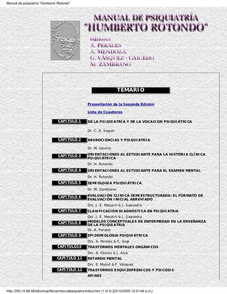 "Manual de psiquiatría ""Humberto Rotondo""                                                                            TEMARI..."