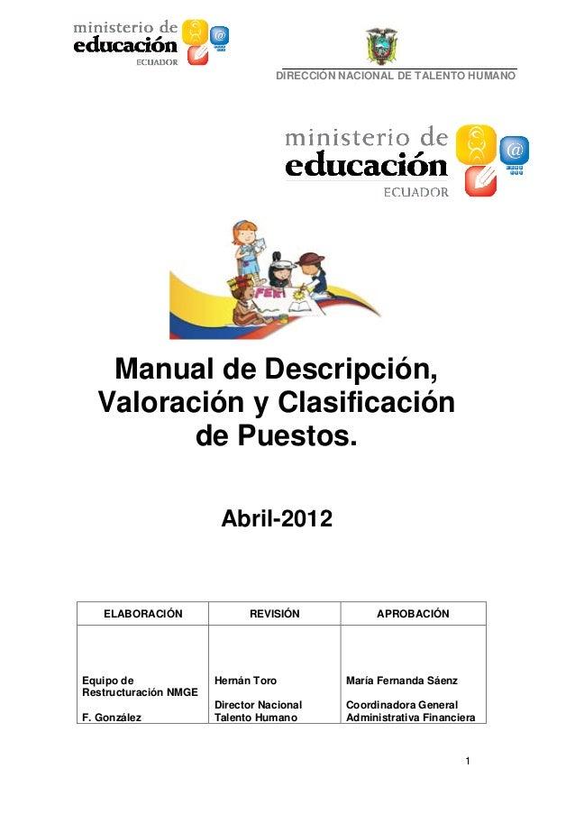 DIRECCIÓN NACIONAL DE TALENTO HUMANO   Manual de Descripción,  Valoración y Clasificación         de Puestos.             ...