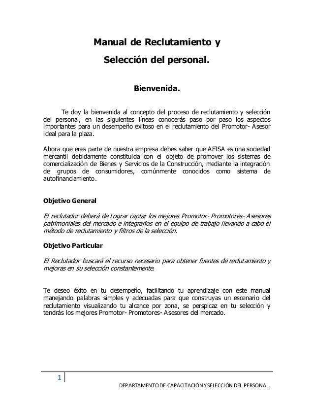 Manual de reclutamiento y seleccion del personal 2015 mms