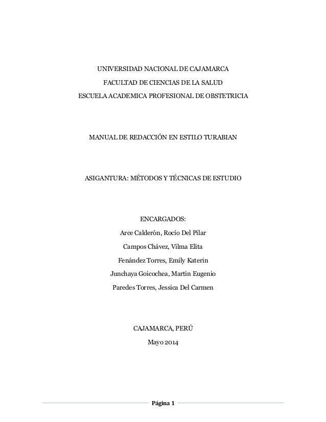 Página 1 UNIVERSIDAD NACIONAL DE CAJAMARCA FACULTAD DE CIENCIAS DE LA SALUD ESCUELA ACADEMICA PROFESIONAL DE OBSTETRICIA M...