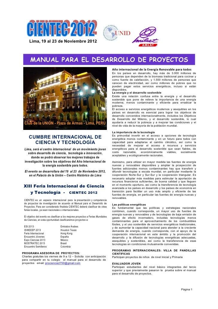 Lima, 19 al 23 de Noviembre 2012      MANUAL PARA EL DESARROLLO DE PROYECTOS                                              ...